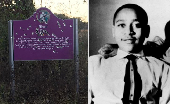 emmett till memorial sign found riddled with bullet holes bcnn1 wp